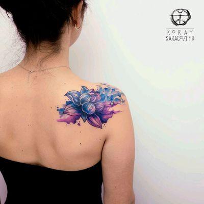 By #koraykaragozler #watercolor #lotus #flower #lotusflower #watercolortattoo