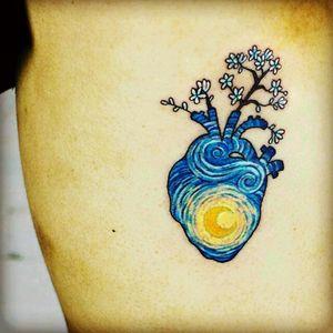 #vangohg #art #hearttattoo #coloredtattoo #inpresionism i love this ...