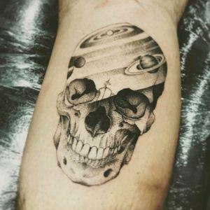 First Tattoo! 💀#Skull #Skulltattoo #GalaxySkull #Galaxy