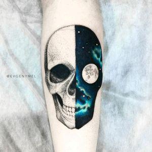 By #evgenymel #skull #space #nightsky #moon #skulltattoo