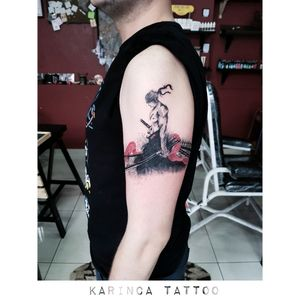Roronoa Zoro (One Piece) Instagram: @karincatattoo #onepiece #tattoo #roronoazoro #anime #manga #tattoos #samurai #tattooed #tattooartist #blackandred #red #brushstroke #ink #istanbul #dövme