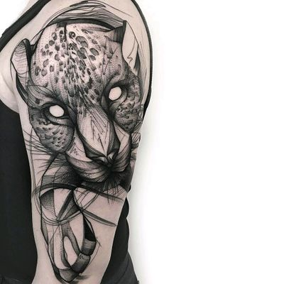 By #FrankCarrilho #leopard #blackwork #animal #nature #sketchtattoo #graphic