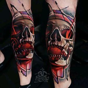 Skull by A.D Pancho #tattoodo #TattoodoApp #tattoodoBR #caveira #skull #colorida #colorful #ADPancho