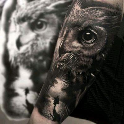 Rralistic owl by Mumia #tattoodo #TattoodoApp #tattoodoBR #owl #coruja #realismo #realism #pretoecinza #blackandgrey #Mumia