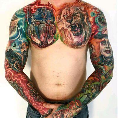 Amazing tattoos by Mario Hartmann #tattoodo #TattoodoApp #tattoodoBR #oprimusprime #transformers #leao #lion #filme #movie #nerd #geek #autobots #Alice #alicenopaisdasmaravilhas #aliceinwonderland #chapeleiro #johnnydepp #colorida #colorful #MarioHartmann