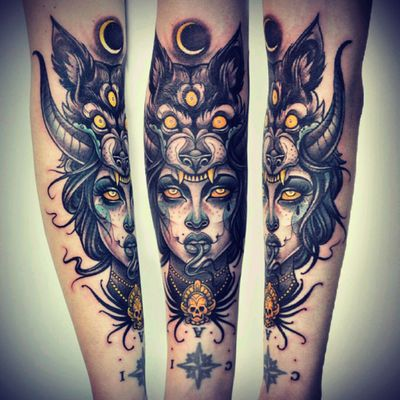 #neotraditionaltattoo #wolf #witch #moon i love this ...
