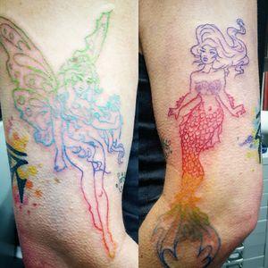 #mermaid #mermaidtattoo #fairy #fairytattoo #colour #colourblend #rainbow