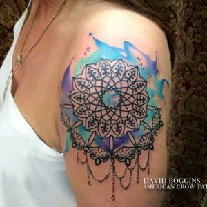 Watercolor mandala by David Boggins #tattoodo #TattoodoApp #tattoodoBR #mandala #aquarela #watercolor #colorida #colorful #DavidBoggins