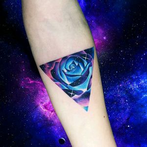 By #AdrianBascur #watercolor #space #rose #galaxy #stars