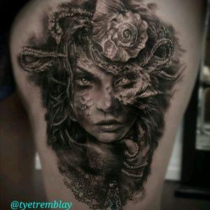 #mermaid #pisces #ladyface #portrait #blackandgrey #realism