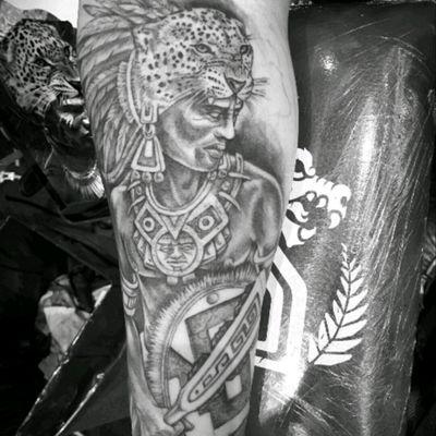 #VictorSepulveda #Mexican #Aztec #Aztecwarrior #Jaguar #BlackandGrey
