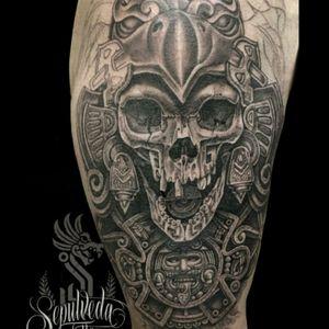 #VictorSepulveda #Mexican #Aztec #AztecWarrior #Skull #BlackandGrey