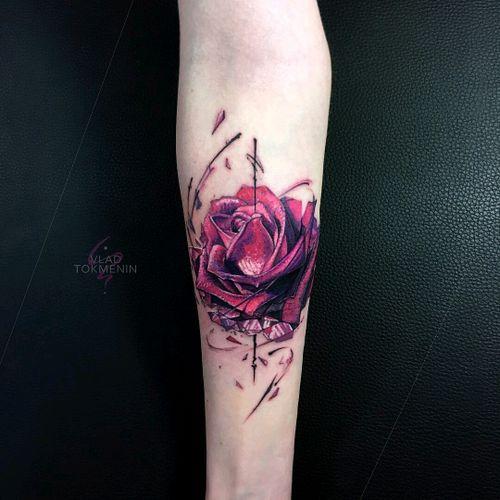 By #VladTokmenin #rose #flower #rosetattoo