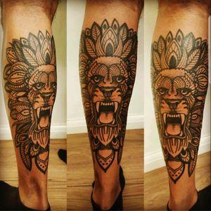 Feb 2016! #Lion #zentangle #Leg #Calf #blackAndWhite #Pride #Loyalty