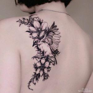 By #DianaSeverinenko #flower #bird #floral #blackwork