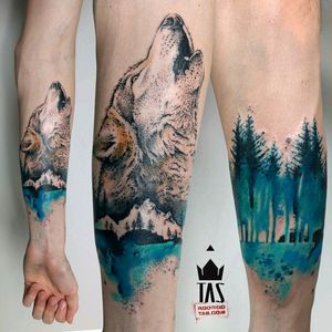 By #RodrigoTas #watercolor #wolf #forest #dotwork #watercolortattoo #wolftattoo