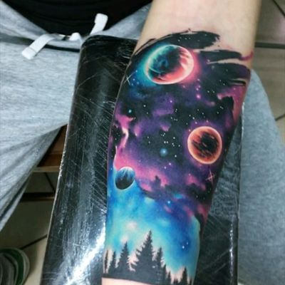 By #AdrianBascur #watercolor #space #galaxy #watercolortattoo #stars #planets #forest #nightsky