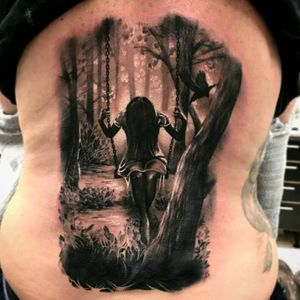 By Robert Tufeanu #tattoodo #TattoodoApp #tattoodoBR #fromhell #macabra #macabre #floresta #forest #arvore #tree #blackwork #balanço #swing #RobertTufeanu
