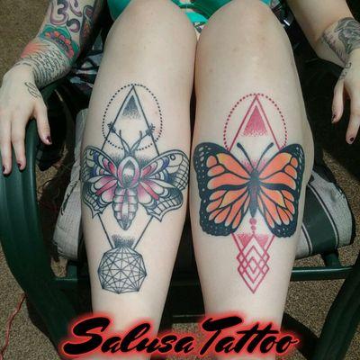 Salusa model Sasha B. #model #salusa #salusatattoo #salusamodel #legs #butterfly #butterflytattoo #summer #moth #mothtattoo #geometric #geometrictattoo #dotwork #dotworktattoo