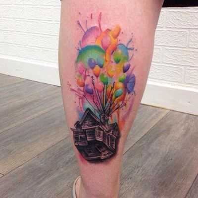 Up tattoo by Kara Chambers #tattoodo #TattoodoApp #tattoodoBR #up #casa #house #balão #balloon #disney #filme #movie #colorida #colorful #aquarela #watercolor #nerd #geek #KaraChambers