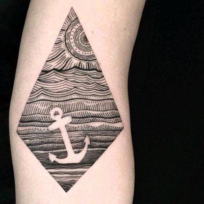 Amazing tattoo by Dino Nemec #tattoodo #TattoodoApp #tattoodoBR #ancora #anchor #mar #sea #sol #sun #pontilhismo #dotwork #DinoNemec