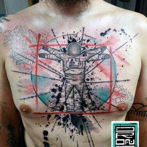 Abstract tattoo by George Drone #tattoodo #TattoodoApp #tattoodoBR #colorida #colorful #homemvitruviano #vitruvianman #astronauta #astronaut #GeorgeDrone