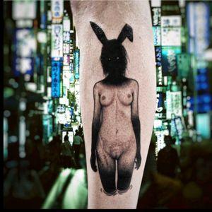 Dark girl by @sewp #blackwork #DarkTattoos #bunnyhead #nsfw