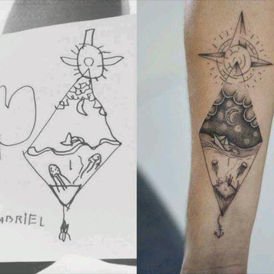 When your tattoo artist understand the drawing of your kid! @RafXimenes7 #tattoodo #TattoodoApp #tattoodoBR #criança #kid #lua #moon #barco #ship #pontilhismo #dotwork #tatuadoresdobrasil #RafXimenes
