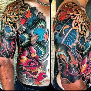 By @stupagdintattooer #tattoodo #TattoodoApp #tattoodoBR #oriental #japanese #hannya #colorida #colorful #StuPagdin