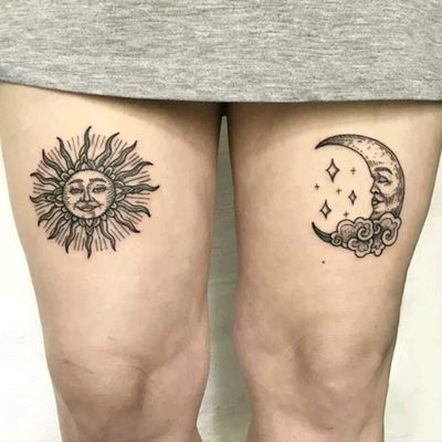By Sandra Ebony Rose #tattoodo #TattoodoApp #tattoodoBR #lua #moon #sol #sun #delicada #cute #SandraEbonyRose