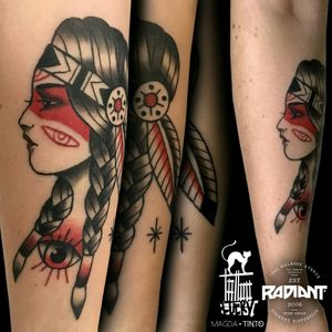 Native American Beauty #neotraditional #traditionaltattoo #oldschool #oldschooltattoo #nativeamerican #nativeamericantattoo #eyetattoo #eye #nativeamericangirl #magdatinto #Tychy #Poland #polandtattoo