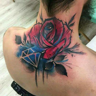 By Lukasz Bam #tattoodo #TattoodoApp #tattoodoBR #tatuagem #tattoo #flor #flower #diamante #Diamond #colorida #colorful #LukaszBam