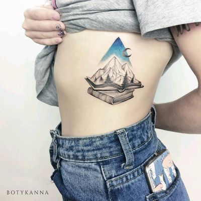 By #botykanna #books #mountains #trees #landscape #moon