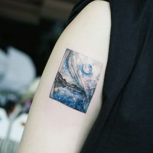 By #TattooistFlower #landscape #moon #curtain #mountains