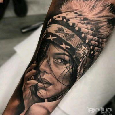 #BoloArtTattoo #Realism #Portrait #Blackandgrey #Native #Girl