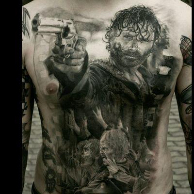 #walkingdead #thewalkingdead #rick #series #popular #blackandgrey #tattoo #tattoed #inked #ink #zombie #apocalypse #realism #realistic #tattoodo #details #detail #fineline #blackwork #blackandgrey #excellent #fulltorso