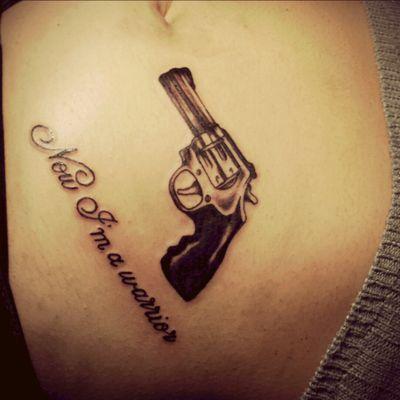 #guntattoo #gun #pistol #letteringtattoo #lettering #blackandgreytattoo