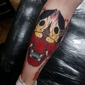 Hannya mask! #tattoo #tattoos #tattooworkers #triplesixstudios #neojapanese#japanese #japanesetattoo #japaneseflowers #elliottwells  #egomachines #fusioninks #fusionink #irezumi #hannya #hannyatattoo #hannyamask  #egor12 #tattoodo all done with the ego r12 machine and fusion ink @fusion_ink