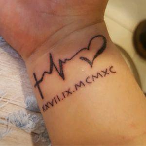 2nd #wrist #cross #lifeline #heart #birthdate #romannumerals #smalltattoo