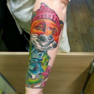 #MyTattoo #fox #color #tattooGirls #love #tattoo