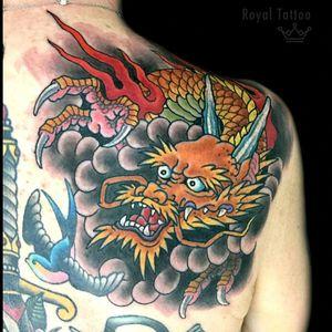 Dragon for Heather by @henningjorgensen #royal #royaltattoo #royaltattoodk #royalink #royaltattoodenmark #helsingørtattoo #ElsinoreInk #tatoveringidanmark #tatoveringihelsingør #japanesetattoo #dragon #japanese #goldendragon