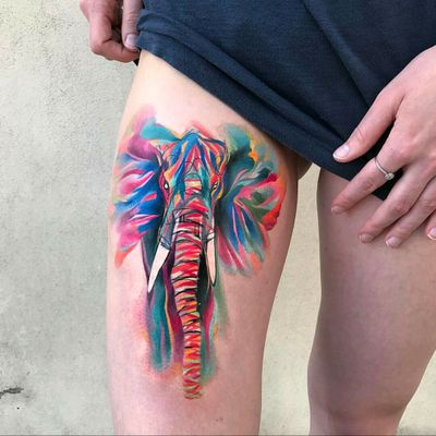By #ondrash #watercolor #elephant #watercolortattoo #abstract