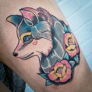 Still a bit red but pretty Wolf ❤ #wolf #neotrad #colour #kawaii #prettytattoo #pretty #cute