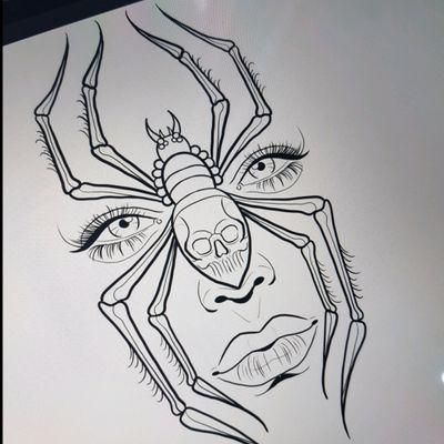 #tattoodesign #tattooidea #spider #womanhead #ladyhead #lady #skull #pinup #makeup #lady #blackandgrey #ink #bng #art #tattooidea #london #tattoo #tattooworkers #tattoosnob #blackandgrey #blackandgreytattoos #singleneedle #london #essex