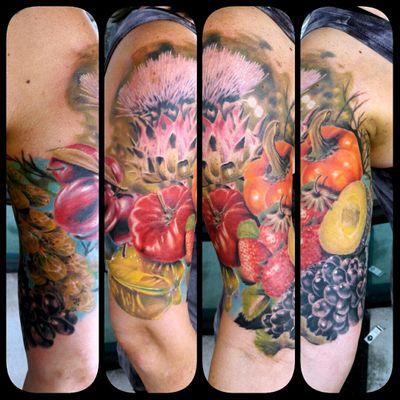 Some pictures of the #vegansleeve in progress 🤗 #plums #bellpepper #Tattoo #Sleeve #inprogress #tomato #paprikatattoo #paprika #grapes #artichoketattoo #plumtattoo #erdbeeren #fruits #obst #gemuese #avocado #strawberrytattoo #worldfamousink #customdesign #customtattoo #mrttattoo #artist #Tattooartist #torstenmatthes #tattoocomposition #fullcustomtattoo #jacksonville #florida @sacredseal @fullcustomtattoo @phucstyxtattoosupply @pride_tattoo_needles @electricink