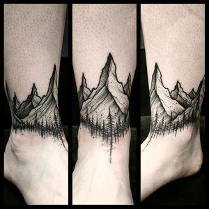 By #ThomasEckeard #mountains #forest #anklebracelet #band #blackwork