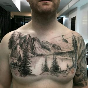 #phenomenal #great #tattoodo #dreamtattoo #nature #mothernature #helicopter #bear #river #countryside #country #fullchest #chest #unreal #realistic #rewlism #blackwork #blackandgrey #mountain #tattoo #tattooed #inked #ink #fineline