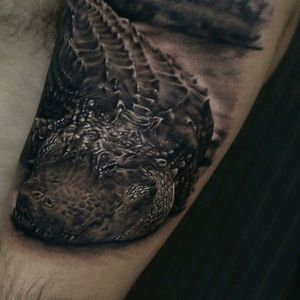 By Adrian Bueno! #tattoodo #TattoodoApp #tattoodoBR #tatuagem #tattoo #realismo #realism #crocodilo #aligator #animal #natureza #nature #tatuadoresdobrasil #AdrianBueno