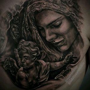 Ave Maria #mary #virginmary #angel #cherub #religious #blackandgrey #realism #portrait