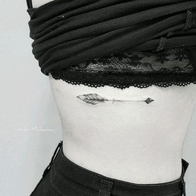By #JackeMichaelsen #arrow #delicate #feather #blackwork